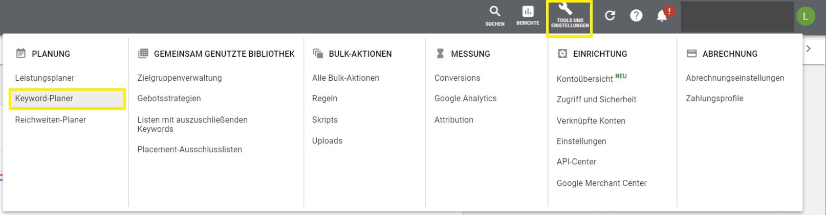 keyword planer tool google ads sea