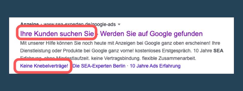 Automatische Erweiterungen Google Ads Bild Detail