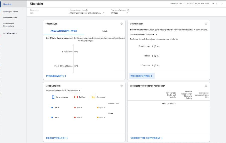 Attributionsmodelle Google Ads 2